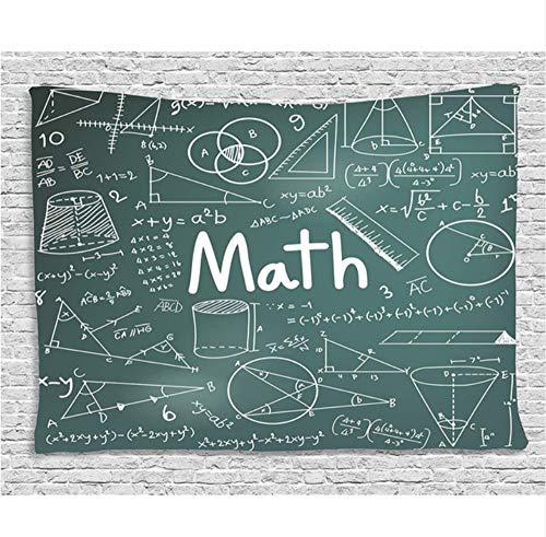 HYDDAXJW Mathematik Klassenzimmer Dekor Wandteppich Nach Schulvorstand Voller Zeichnungen Formeln Formen Theorie Mathematik Wort Wandbehang Petrol Weiß,(W) 150X (H) 230 cm - Chakra-formel