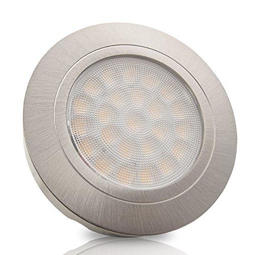 3er Set LED Möbel Einbaustrahler LUCCA Edelstahl Optik gebürstet 2Watt 12V DC Warmweiß (3000k), 200 Lumen IP20 Einbautiefe: 10mm, mit 2m Zuleitung mit AMP-Stecker, inkl. AMP-Verteiler & LED Trafo