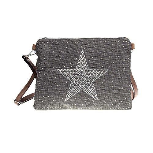 ROSENROT - STARS - Umhängetasche aus Canvas, Sterne aus Strass Schwarz, 28x20cm -