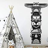 zqyjhkou Totem Polonais Stickers Muraux Decal Woodland Animal Tribal Stickers Amovible Vinyle Sticker Mural pour Enfants Room Decor L 110 cm x 196 cm...