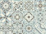 Adhesivo de Pared The Nisha Salpicadero de Vinilo Azulejos Adhesivos Arte Ecléctico para la Cocina, Juego de 24 Adhesivos, 10x10 cm, Azul Delicado