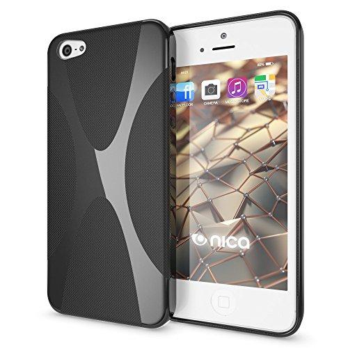 Apple iPhone SE 5 5S Coque Protection de NICA, Housse Silicone Portable Mince Souple, TPU Tele-phone Case Cover Premium Incassable Ultra-Fine Resistante Gel Slim Bumper Etui - Mat Noir X-Line Noir