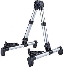 Striker Adjustable Aluminum Floor Stand for Guitars, Basses- Foldable & Portable (Silver)