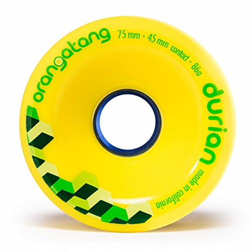 Orangatang Durian 75 mm 86a Freeride Longboard Skateboard Wheels (Yellow, Set of 4)