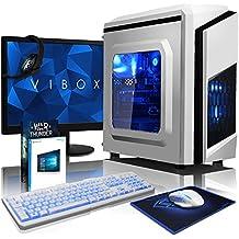 VIBOX Pyro GL530-240 Paquet Gaming PC - 4,1GHz Intel i5 Quad Core CPU, GPUGT730, Presupuesto, Ordenador de sobremesa para oficina Gaming vale de juego, con monitor, Windows10, Iluminaciàninterna azul (3,5GHz (4,1GHz Turbo) SuperrápidoInteli5 7600Quad 4-CoreCPUprocesador de Kabylake, Tarjeta gráficadedicada de 2GBNvidia GeforceGT730GPU, 32 GB 2133MHzDDR4RAM, Unidad de estadosàlidoSSD de 240GB, Discoduro2TB, 85+ PSU400W, F3 Blanco)