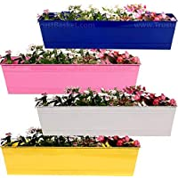 TrustBasket Set of 4 Rectangular Railing Planter-Blue,Magenta,Ivory,Yellow (23 Inch)