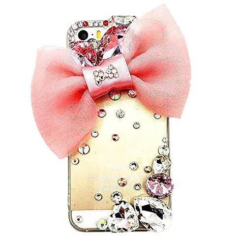 Diamant Coque pour Apple iPhone 7 (4,7 Pouces) Smartphone - Diy Cristal de Nœud Papillon Faux Diamant Transparent Bumper Téléphone Silicone Étui Housse Protecteur