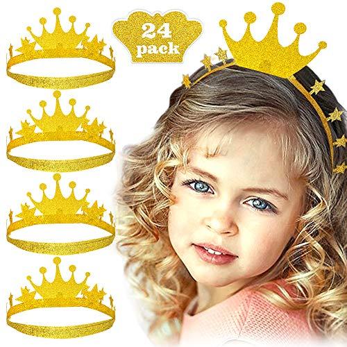 Bascolor 24Stk. Golden Krone Geburtstag Partyhüte Prinzessin Mädchen Golden Stern Haarband Stirnband für Baby Kinder Erwachsene Geburtstag Party Feier Hochzeit (Golden Krone) (Geburtstag Krone Prinzessin)