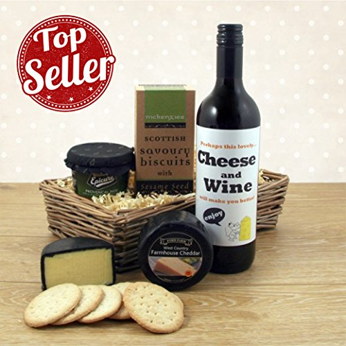 Get Well Gift Baskets - Feel Better with Cheese and Wine Hamper Idea Get Well Gift Available for Next Day Delivery to Hospital Gifts with Bespoke Wine Label