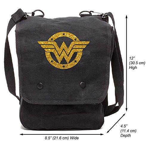 Wonder Woman Logo lienzo Crossbody Bolsa de viaje Mapa caso, Black & Glitter Gold