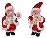 2 Weihnachtsmänner Santa Claus mit Weihnachtskerze & Rentier Weihnachtsdekoration Weihnachten Deko Bewegt sich, leuchtet & macht Musik