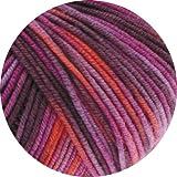 Lana Grossa Merino Superfein Print 787, lila-orange, 50g, Merinowolle