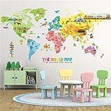 Wandtattoos Wandbilder Wohnzimmer Schlafzimmer Hintergrund Dekoration selbstklebend Cartoon Weltkarte Wandaufkleber Papier süße Kinder Raumdekoration Tapete Aufkleber