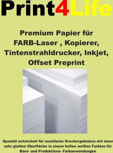 Preisvergleich Produktbild 250 Blatt Din A4 80g/m² Premium Papier FARB-Laser, Kopierer, Tintenstrahldrucker, Inkjet, Offset Preprint, Digitaldruckpapier weiß matt, Kopierpapier