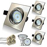 HiBay Eckig LED Set 4 Stück Einbaustrahler 5W 18PCS High Power LEDs Warmweiß GU10 SMD + Edelstahl gebürstet Schwenkbar Einbaurahmen Deckenspot +GU10 Fassung,2 Jahre Garantie