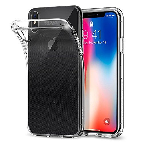 Funda iPhone X  Spigen® [Liquid Crystal] Protección delgada de Gel silicona y claridad Premium TPU para iPhone X (2017) [Trasparente]