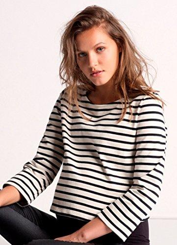 Love2Wait Shirt Striped Umstands Sweatshirt Freizeit Langarmshirt 025 - Grey Melange