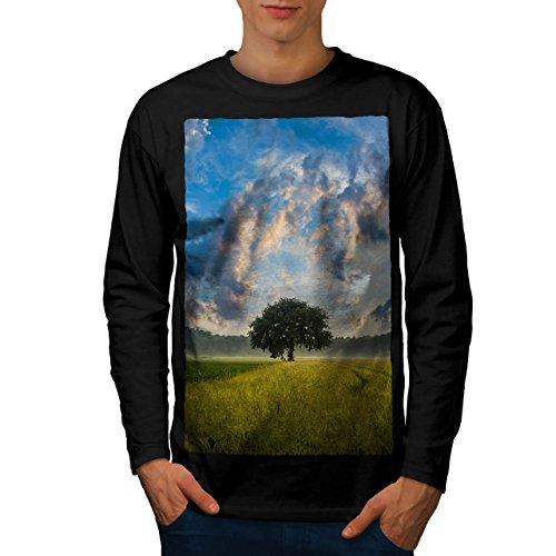 Baum Feld Wild Natur Wald Landschaft Men XL Langarm T-Shirt | Wellcoda (Langarm-shirt-feld)