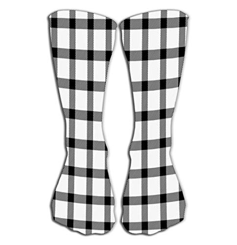 Hohe Socken Outdoor Sports Men Women High Socks Stocking halloween tartan plaid scottish cage background pattern black white traditional checkered fabric texture Character Tile length 19.7