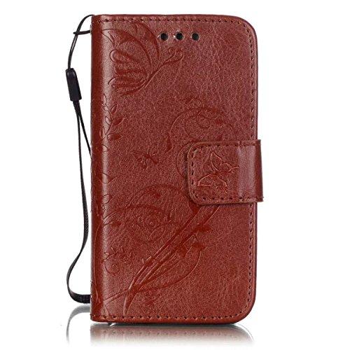 JIALUN-étui pour téléphone Avec slot pour carte, Lanyard, Pressure Beautiful Pattern Fashion Open Cell Phone Shell pour IPhone 4s 4 ( Color : Brown , Size : IPhone 4s ) Brown