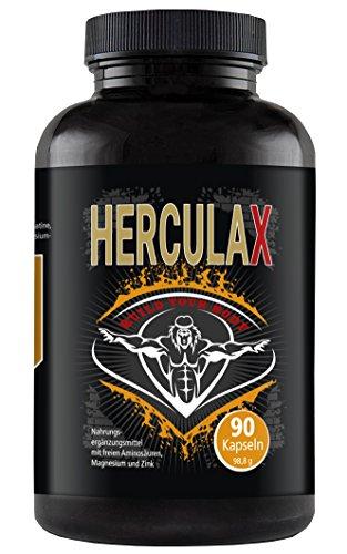 HERCULAX - Hochdosierte Booster Kapseln Muskelaufbau I Fettverbrenner Bodybuilding Nahrungsergänzungsmittel Fatburner I 90 L-Arginin Kapseln hochdosiert für schnellen und extremen Muskelwachstum