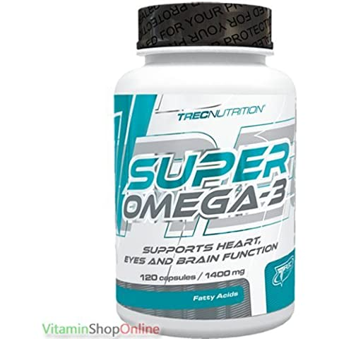 SUPER OMEGA-3 STRENGTH 120caps FISH OIL SUPPORTS HEART SKIN 3 TREC NUTRITION FREE P&P by Trec Nutrition