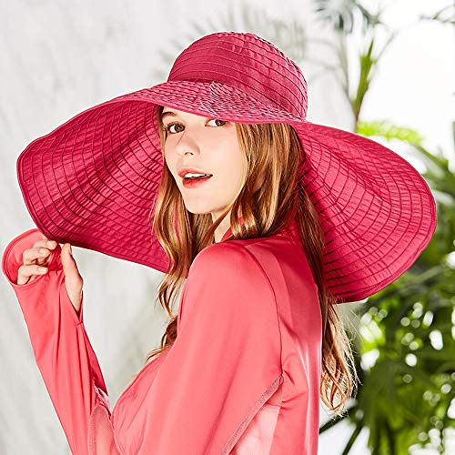 Jenify Women ' S Wide Brim Beach Sun Hat Foldable Travel Outdoor Big Brim Hat, Ladies Hats Summer,Rosered Victorian Lady-hut
