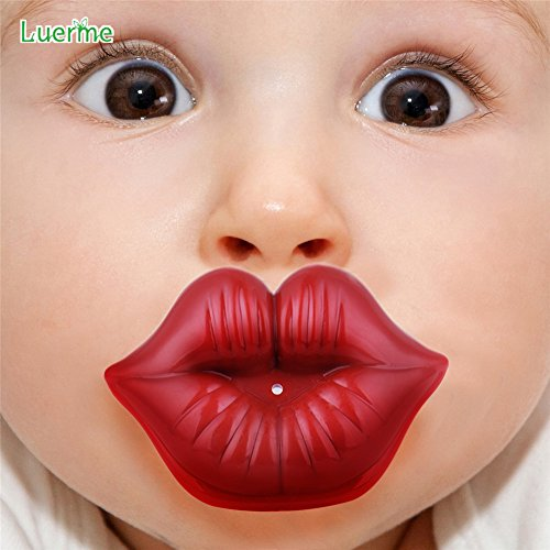 Luerme Funny Cute Lip Silicone Nipple Dummy Baby Soother Nipples Teether Pacifier Care (Red)