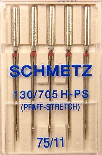 5 Schmetz Stretch (Pfaff Stretch) Nähmaschinen Nadeln Flachkolben 130/705 H-PS Stärke 75/11 - Pfaff Overlock Nähmaschinen