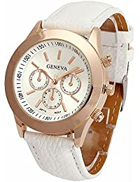 Geneva Small White Dial Faux Leather Strap Analog Watch For Women, Girls