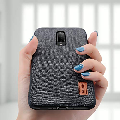 Annure Shockproof Soft TPU Bumper Fabric Back Cover Case for One Plus Oneplus 7 (Black)