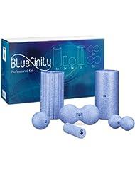 Bluefinity Massagerolle großes 6er Set, Selbstmassagerolle verschiedene Größen und Formen, für Faszientraining, gegen Verspannungen, Faszienrolle zur Selbstmassage, blau