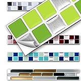 7 Stück 25,3 x 3,7 cm Wandora 3D Fliesenaufkleber W1431 viele Farben und Größen zur Auswahl Küche Bad Fliesenfolie selbstklebend verschiedene Grüntöne Mosaik Design 9