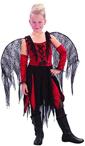 Böse Fee Kostüm für Mädchen in rot-schwarz 104/116 (4-6 (Kostüme Böse Fee Halloween)