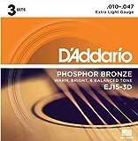 D\'Addario Cordes en bronze phosphoreux pour guitare acoustique avec revêtement D\'Addario EJ15-3D, Extra Light, 3 jeux