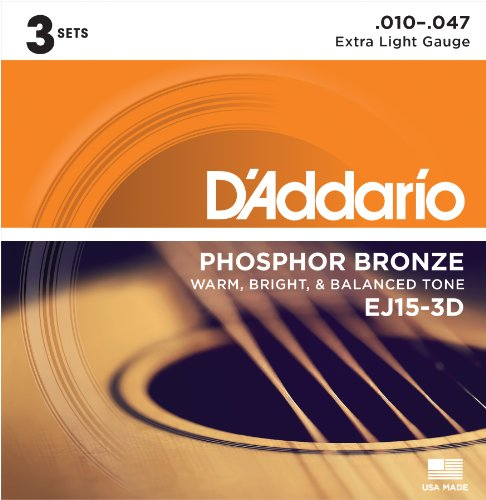 Price comparison product image D'Addario EJ15-3D Phosphor Bronze Extra Light (.010-.047) Acoustic Guitar Strings 3-Pack