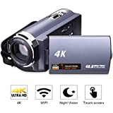 "Videokamera 4K Camcorder WiFi Camcorder Ultra HD 48MP Digitalkamera 3,0"" Touchscreen Nachtsicht Pause Funktion"