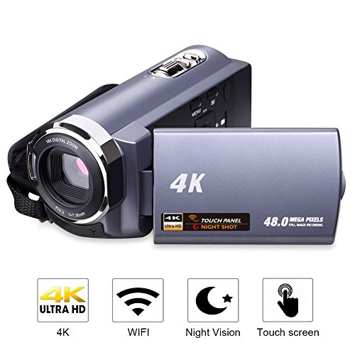 Videokamera 4K Camcorder WiFi Camcorder Ultra HD 48MP Digitalkamera 3,0' Touchscreen Nachtsicht Pause Funktion