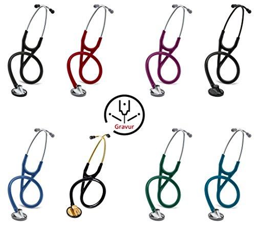 3M Littmann Master Cardiology Stethoskop MIT GRAVUR (verschiedene Farben) (Black Edition) - Stethoskop Littmann Farben