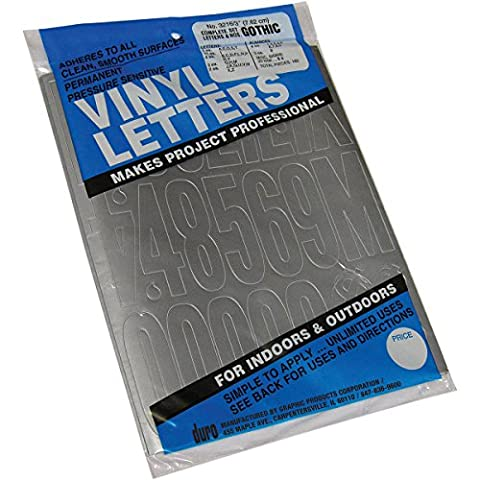 Graphic Products Permanent Adhesive Vinyl Letters and Numbers 3-inch 160/Pkg-Silver