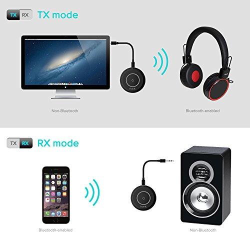 HAVIT V4.1 Bluetooth Adapter Transmitter Empfänger (aptX geringe Verzögerung), 2-In-1 Wireless Stereo Audio Sender und Receiver , 3,5mm klink Stereo Kabel, für TV,CD Player,ipod,Kopfhörer,Lautsprecher, PC Laptop/Tablet,MP3 / MP4