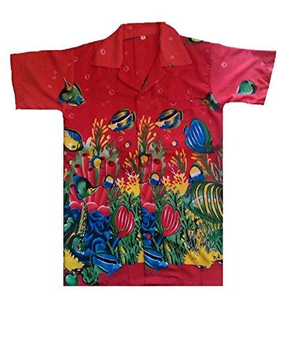 SAITARK Herren Freizeit-Hemd Mehrfarbig Mehrfarbig Mehrfarbig - Rot