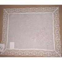 PRIMERAEDAD Pañuelo bautizo blanco personalizado con nombre y fecha 32 x ... 1f2e7e44a357