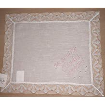 PRIMERAEDAD/Pañuelo bautizo blanco personalizado con nombre y fecha/32 x ...