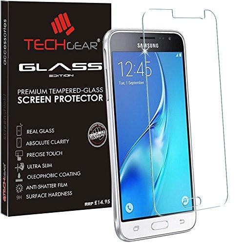TECHGEAR® Samsung Galaxy J3 2016 (SM-J320 Series) GLASS Edition Genuine  Tempered Glass Screen Protector Guard Cover