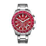 Gigandet Quarz Herren-Armbanduhr Chrono King Chronograph Uhr Datum Analog Edelstahlarmband Silber Rot G28-005