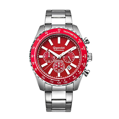 Gigandet Chrono King Men's Analogue Wrist Watch Quartz Chronograph Silver Red G28-005