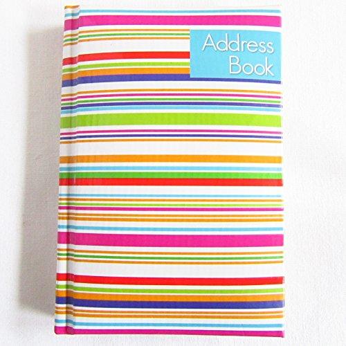 Rubrica A-Z, con copertina rigida imbottita, formato tascabile, motivo a strisce
