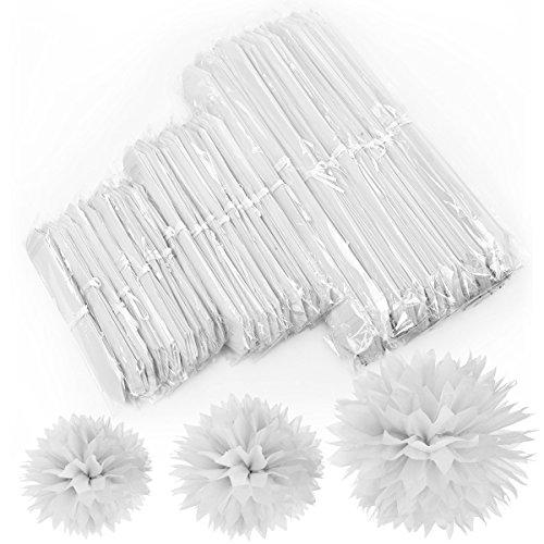 Puschel aus Seidenpapier 30 x Weiß Blume Flower Ball Piercing Schmuck Blooms mm Innenumfang für baby shower XMAS Tafelaufsätzen Zwerg Musikanten mix Größe (20,32 cm 25,4 cm 38,1 cm)