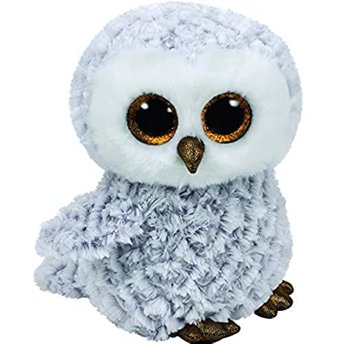 peluches TY - Beanie Boos Owlette, búho, 15 cm, color gris (United Labels Ibérica 37201TY)